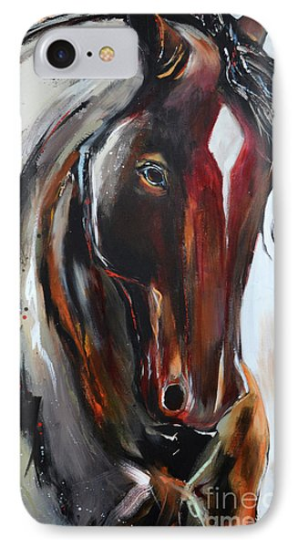 IPhone Case featuring the painting Fiery Red Head by Cher Devereaux