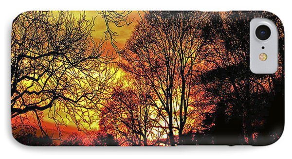 Fiery Red Sunset IPhone Case by Carol F Austin