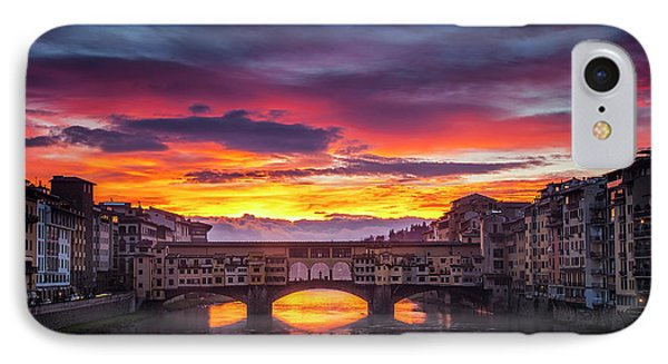 IPhone Case featuring the photograph Fiery Sunrise Over Ponte Vecchio by Andrew Soundarajan