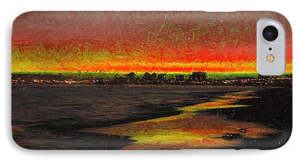 IPhone Case featuring the digital art Fiery Sunset by Mariola Bitner