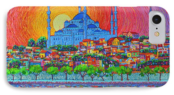 City Sunset iPhone 7 Case - Fiery Sunset Over Blue Mosque Hagia Sophia In Istanbul Turkey by Ana Maria Edulescu