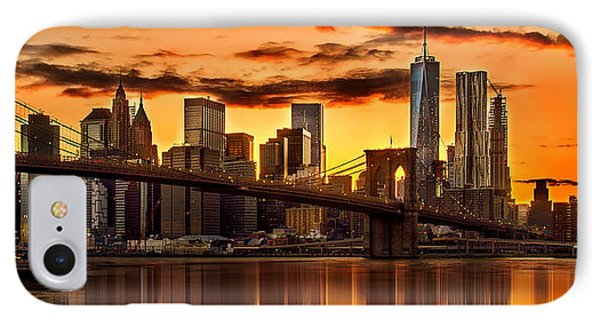 Fiery Sunset Over Manhattan  IPhone Case by Az Jackson