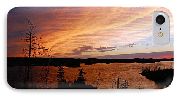 Fiery Sunset Over Seagull Lake Phone Case by Larry Ricker