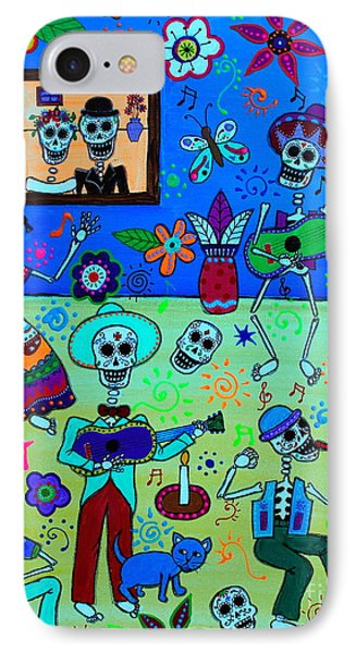 IPhone Case featuring the painting Fiesta Calaveras IIi by Pristine Cartera Turkus