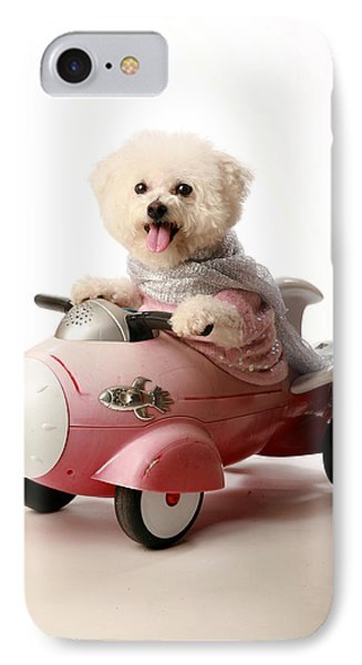 Fifi The Bichon Frise And Her Rocket Car Phone Case by Michael Ledray