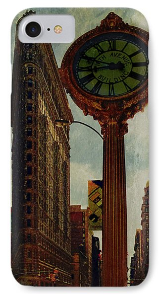 Fifth Avenue Clock And The Flatiron Building Phone Case by Chris Lord