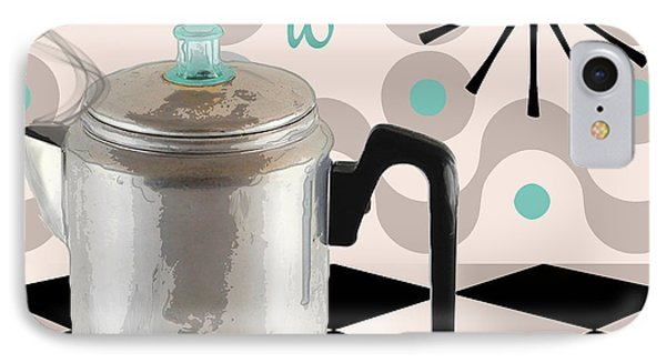 Fifties Kitchen Coffee Pot Perk Coffee IPhone Case by Mindy Sommers