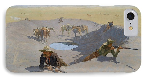 Fight For The Waterhole IPhone Case by Frederic Remington