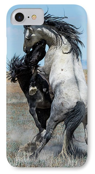 IPhone Case featuring the photograph Fighting Black And Gray Stallions by Mary Hone