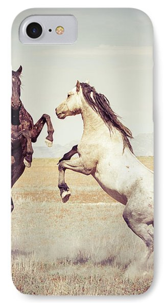 IPhone Case featuring the photograph Fighting Stallions by Mary Hone