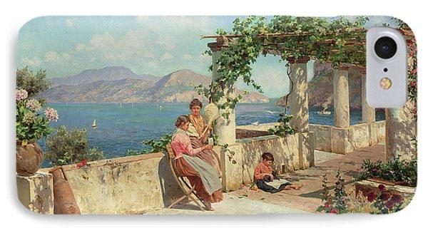 Figures On A Terrace In Capri  IPhone Case by Robert Alott