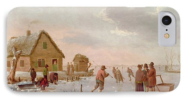 Figures Skating In A Winter Landscape Phone Case by Hendrik Willem Schweickardt
