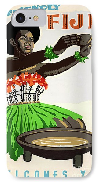 Fiji Restored Vintage Travel Poster IPhone Case