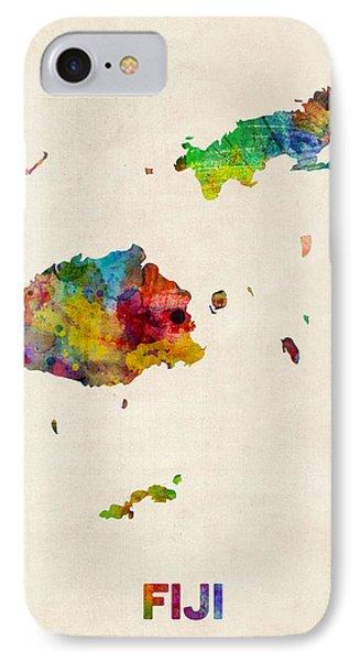 Fiji Watercolor Map IPhone Case