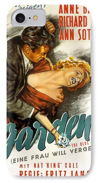 Film Noir Poster Blue Gardenia Anne Baxter Richard Conte Ann Sothern IPhone Case by R Muirhead Art