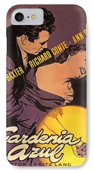 Film Noir Poster Gardenia Azul Anne Bxter Richard Conte Ann Sothern IPhone Case by R Muirhead Art
