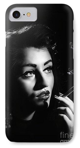Film Noir Smoking Woman IPhone Case by Amanda Elwell