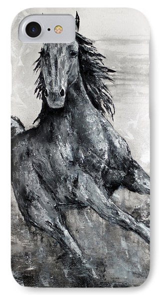 Contemporary Black And White Horse Painting, Fin IPhone Case