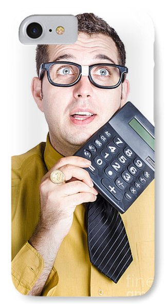 Finance Businessman With Calculator IPhone Case by Jorgo Photography - Wall Art Gallery