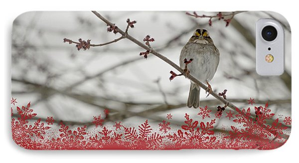 IPhone Case featuring the mixed media Finch Christmas by Trish Tritz