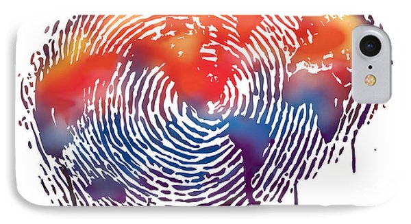 Finger Print Map Of The World Phone Case by Sassan Filsoof