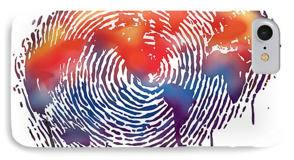 Finger Print Map Of The World IPhone Case by Sassan Filsoof