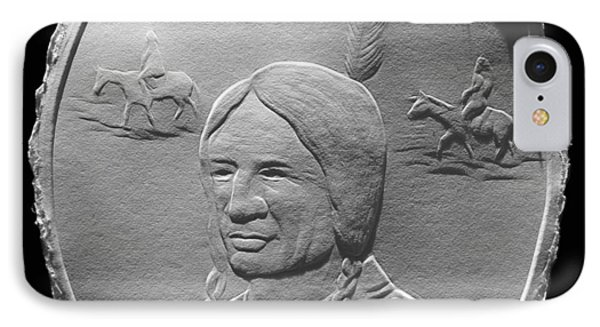 Fingernail Relief Drawing Of American Indian  IPhone Case by Suhas Tavkar