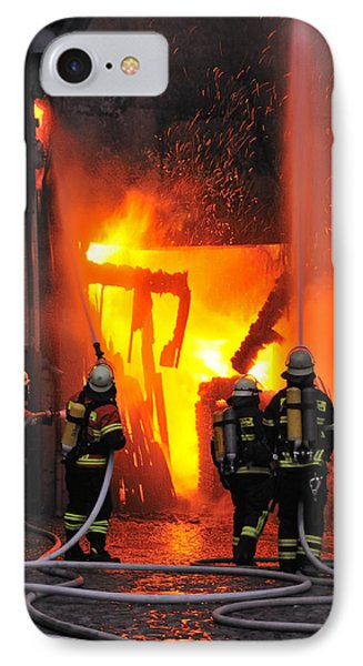 Fire - Burning House - Firefighters IPhone Case by Matthias Hauser