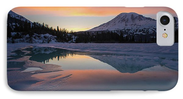 Fire And Ice Rainier Winter Lake Reflection IPhone Case by Mike Reid