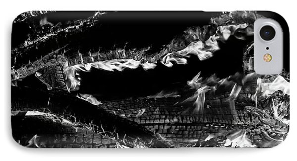 IPhone Case featuring the photograph Fire Black And White by Britt Runyon