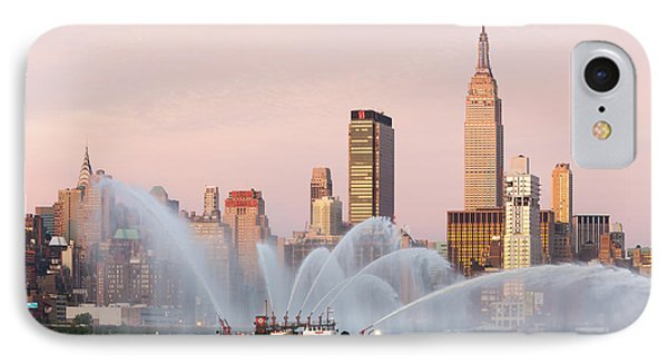 Fire Boat And Manhattan Skyline I IPhone Case by Clarence Holmes