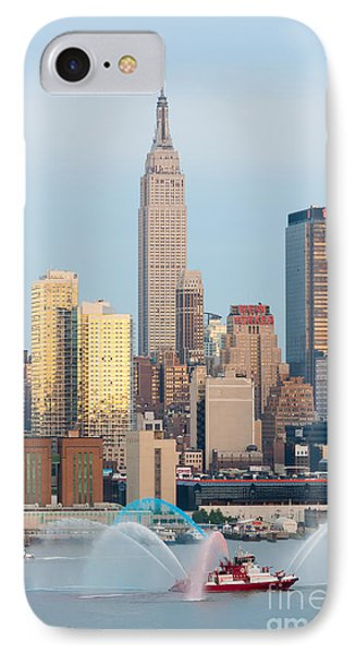 Fire Boat And Manhattan Skyline IIi  Phone Case by Clarence Holmes