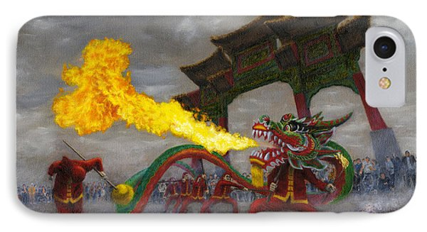 IPhone Case featuring the painting Fire-breathing Dragon Dancer by Jason Marsh