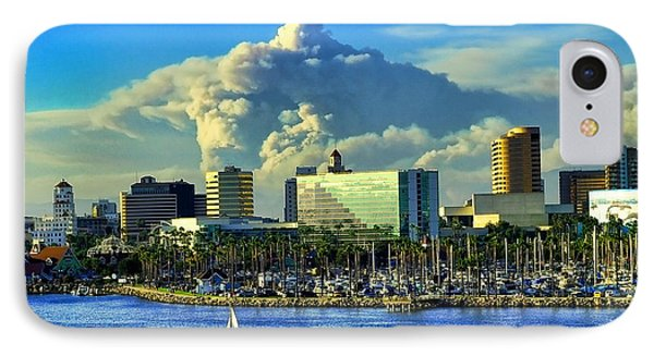 IPhone Case featuring the photograph Fire Cloud Over Long Beach by Mariola Bitner