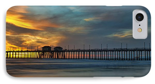 Fire On The Sky - Huntington Beach Pier IPhone Case by Peter Dang