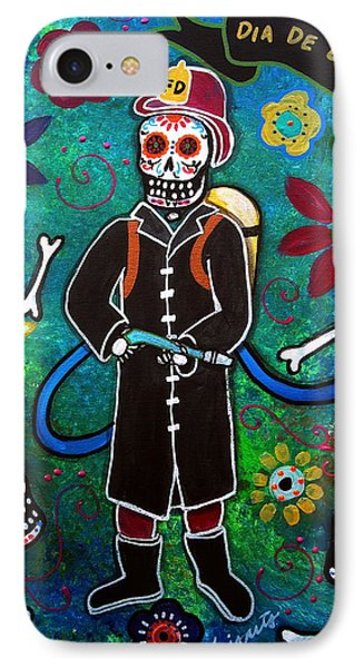 IPhone Case featuring the painting Firefighter Day Of The Dead by Pristine Cartera Turkus