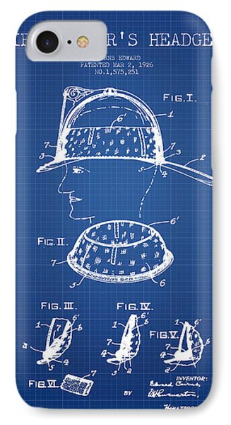 Firefighter Headgear Patent Drawing From 1926 - Blueprint IPhone Case by Aged Pixel