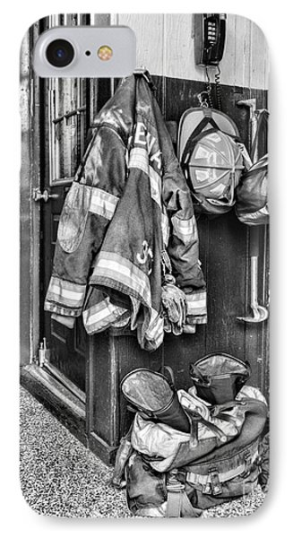 Fireman - Always Ready - Black And White IPhone Case by Paul Ward