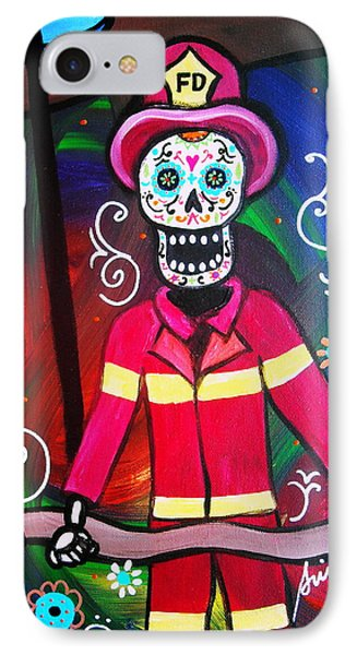 IPhone Case featuring the painting Fireman Dia De Los Muertos by Pristine Cartera Turkus