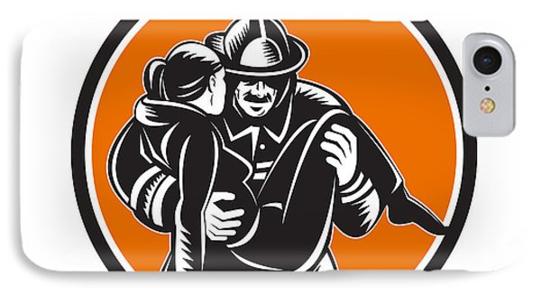 Fireman Firefighter Saving Girl Circle Woodcut IPhone Case
