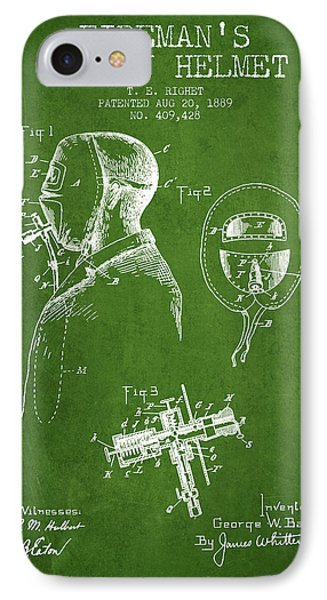 Firemans Safety Helmet Patent From 1889 - Green IPhone Case