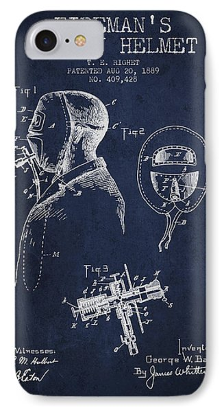 Firemans Safety Helmet Patent From 1889 - Navy Blue IPhone Case by Aged Pixel