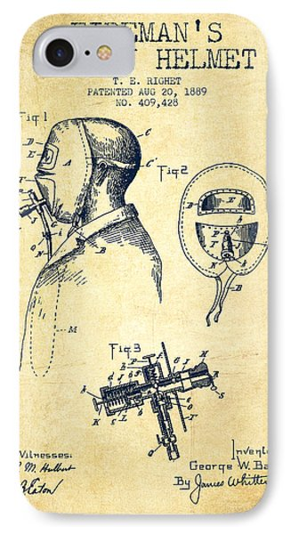 Firemans Safety Helmet Patent From 1889 - Vintage IPhone Case by Aged Pixel