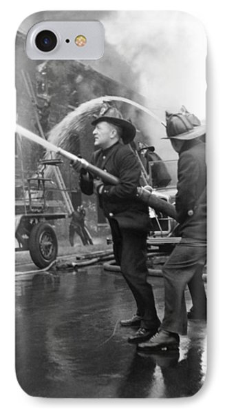 Firemen With Hose IPhone Case by Underwood Archives