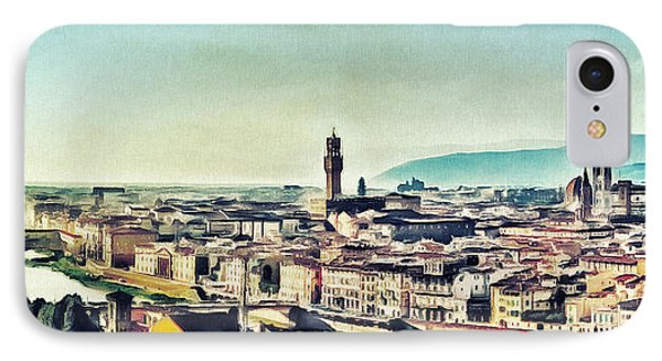 Firenze - Florence Skyline Art Painting IPhone Case by Wall Art Prints