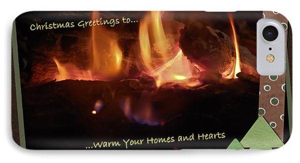 Fireside Christmas Greeting Phone Case by DigiArt Diaries by Vicky B Fuller