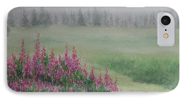 IPhone Case featuring the painting Fireweeds Still In The Mist by Stanza Widen
