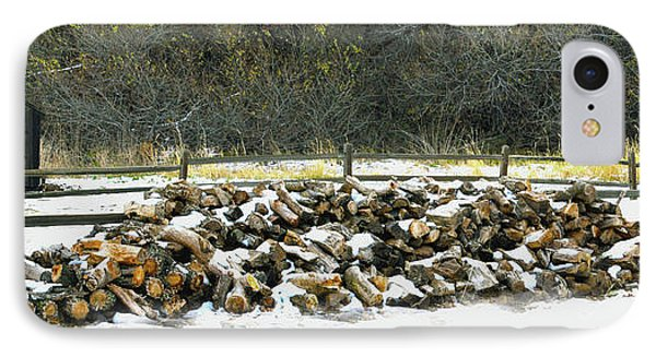 IPhone Case featuring the photograph Firewood In The Snow At Fort Tejon by Floyd Snyder