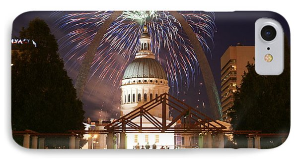 Fireworks At The Arch 1 Phone Case by Marty Koch