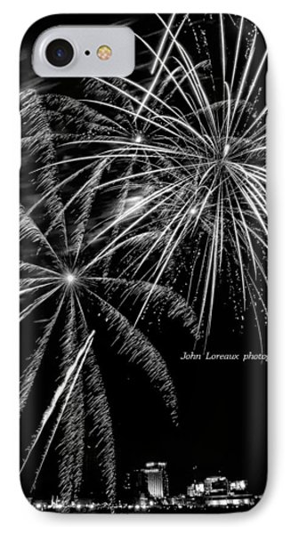 Fireworks Bw IPhone Case by John Loreaux